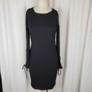 Vince Camuto Ribbed Grommet Lace Up Sleeve Dress M